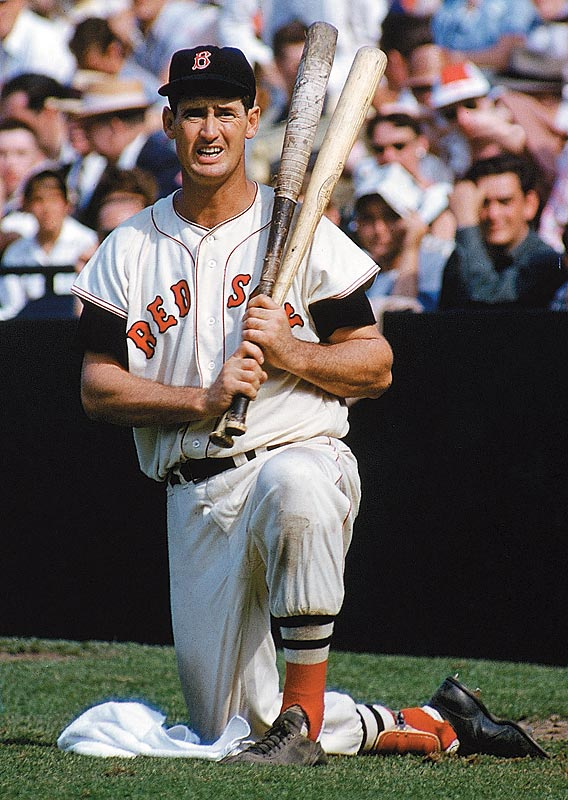 The legendary Ted Williams waits in the on-deck circle during a game against Detroit.