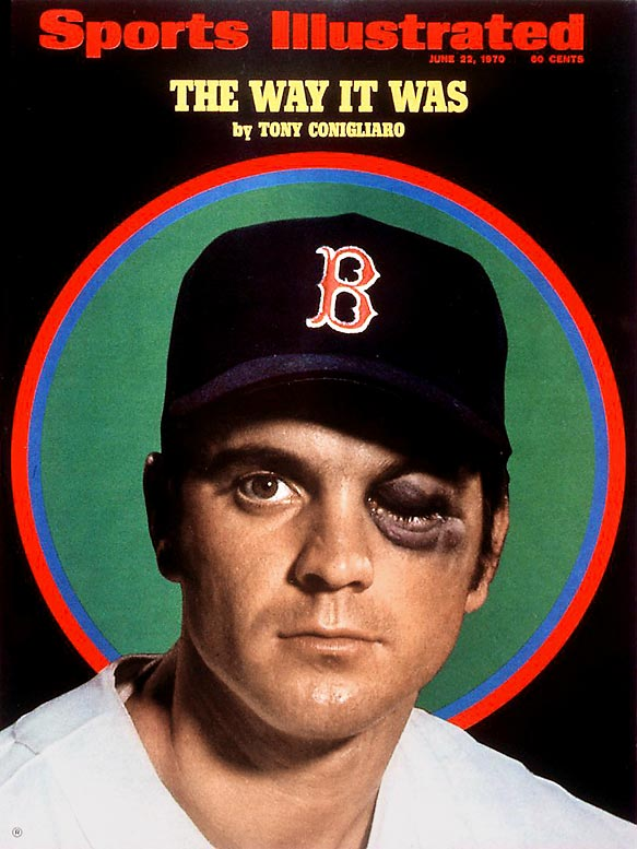 Tony Conigliaro, who was born and raised in the Boston suburb of Revere, is pictured on one of the most haunting covers in SI history. Tony C's career was cut short when he was hit in the face by Angels pitcher Jack Hamilton. Though he returned from the injury and posted impressive numbers, he eventually was forced to retire due to bad eyesight as a result of the errant pitch.