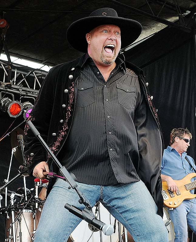 Country band Montgomery Gentry blasts out a tune at the NASCAR All-Star race.