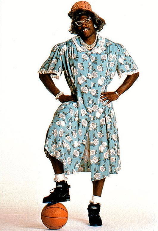 When LJ donned a dress and wig for a memorable Converse ad campaign, he morphed into Grandmama. However, we doubt he was teased too much for this name. After all, how many 6-6, 250-pound grandmas do you know?