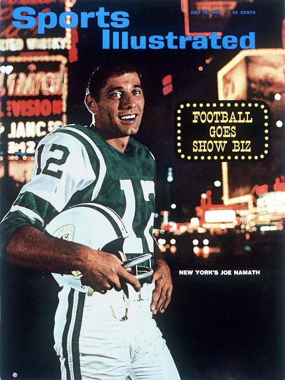 Teammate Sherman Plunkett gave Namath his nickname after seeing this 1965 Sports Illustrated cover with Namath standing in front of New York City's infamous avenue. The Hall of Famer lived up to the name with both his brash fur coats and bold predictions, the most well known coming in 1969 when he guaranteed his 19-point underdog Jets would defeat the Baltimore Colts in Super Bowl III. They did, 17-6, and Namath was named MVP.