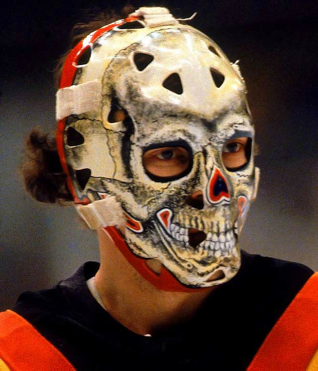 """This impressive and scary skull was fitting because Bromley was known throughout the NHL as """"Bones"""" for his slender build -- 5-10, 160 pounds. His nickname was spelled out with small bones on the back plate of the mask."""