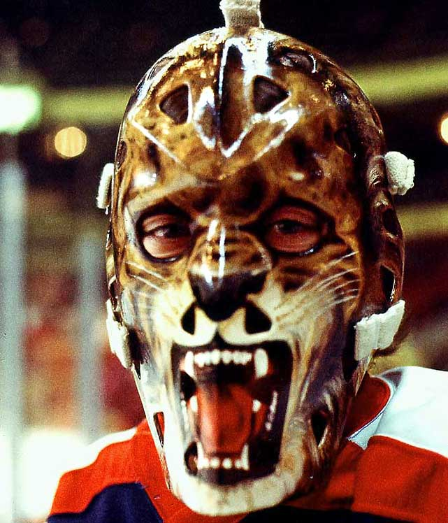 A revolutionary design by Harrison, this snarling lion was created for Gratton, a Leo and firm believer in astrology who one night informed his coach he could not play because the stars were not properly aligned. Gratton had hoped the mask would frighten, or at least distract opposing shooters. This was not the case, as it was the mask that would become his legacy and not his abilities between the pipes. Send comments to siwriters@simail.com.