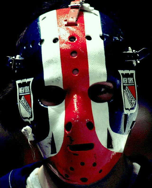 Ranger fans remember this JD mask with fondness, using three slightly curvy bold red-white-and-blue stripes, along with the team's logo. It was another clean, uncluttered, distinctive design by Greg Harrison.