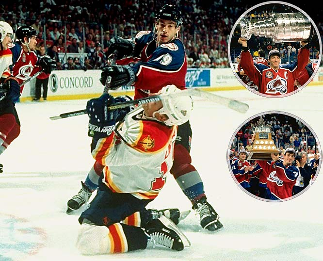 Sakic had a career year with the Avalanche in 1995-96, scoring 120 points during the regular season and leading the NHL with 34 in the playoffs, including six game-winning goals among his 18 tallies. His performance earned him the Conn Smythe Trophy as playoff MVP as the Avs swept Florida to win their first Stanley Cup.