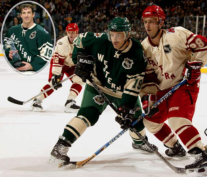 At the 2004 NHL All-Star Game in St. Paul, MN, Sakic scored a hat trick for the Western Conference and earned MVP honors although it was in a losing cause.