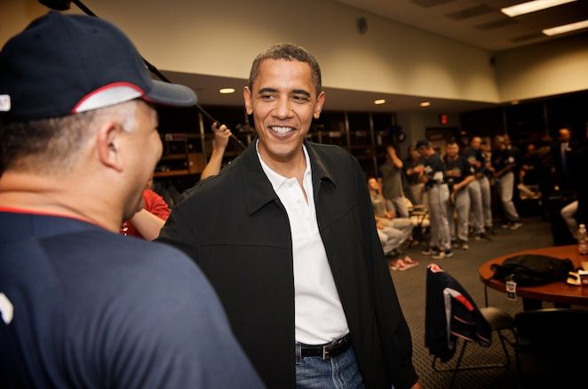 Barack Obama said he never played organized baseball as a youth.
