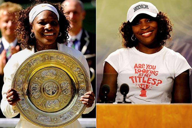 "Lost in the hubbub surrounding Roger Federer's record-breaking victory at Wimbledon was Williams' accomplishment: She won her 11th Grand Slam and third Wimbledon by beating her sister, Venus. It was almost as impressive as the ""Are You Looking At My Titles?"" T-shirt she wore to her postmatch press conference."