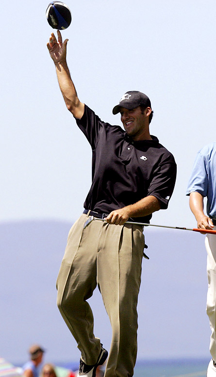 It looks like Romo is recovering just fine after his split from Jessica Simpson. He finished second at the American Century Celebrity Golf Championship at Lake Tahoe, and has been spotted at Hollywood hot spots, um, getting his mind off Jessica. Maybe, just maybe, come September Romo can start making headlines for what he's doing on the field as opposed to his exploits off it.