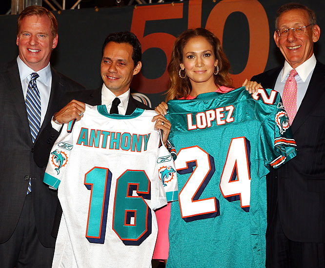 Dolphins majority owner Stephen Ross' goal of turning the team's front office into a lounge act continued last week as he made Marc Anthony and Jennifer Lopez minority owners. They join Gloria Estefan and Jimmy Buffett in that role, while Buffet's beer, Land Shark, has replaced Dolphins as the name of the stadium. Can we start the countdown now as to when Bill Parcells will get out of this mess?