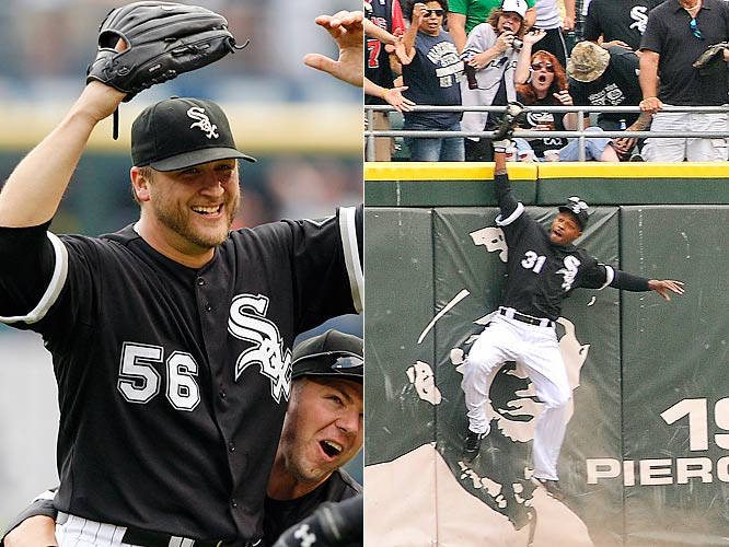 As much as Buehrle deserves all the attention he's getting for throwing a perfect game, he should really bring DeWayne Wise with him on every appearance, considering the White Sox center fielder saved Buehrle's bid for perfection with his acrobatic catch of Gabe Kapler's would-be home run. Maybe Wise could have read a couple lines on <i>The Late Show with David Letterman</i> and chatted with the President for a couple minutes before Buehrle's lengthy conversation with Obama. Something, anything.