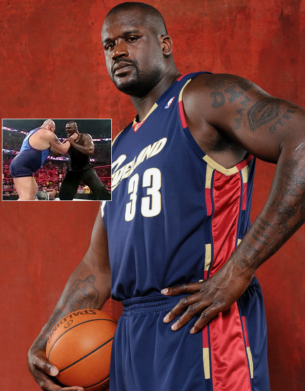 Apparently the WWE is so desperate for attention these days that it has turned its signature show <i>''Monday Night Raw''</i> into a <i>Saturday Night Live</i> imitation with celebrity guest hosts every week. This week Shaquille O'Neal was the host and he looked as comfortable in the ring as he did on the court. He not only taunted wrestlers, but also ripped off his shirt and choked The Big Show before pushing him out of the ring. Can we now add Shaq Flair to his multitude of nicknames?