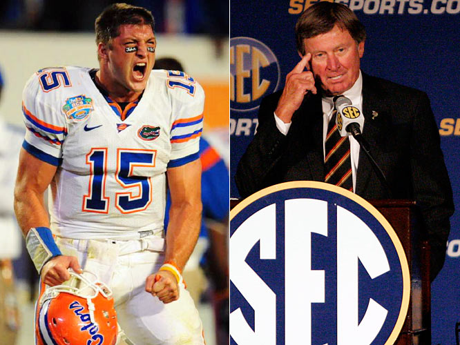 Despite being on the cover of every sports magazine under the sun, this Tebow guy, apparently, is a bit of an unknown in South Carolina where Steve Spurrier, the former Florida coach and quarterback, failed to name Tebow as a first-team SEC quarterback. Spurrier later apologized, and admitted he had nothing to do with filling out the ballot. He also had the SEC change his vote, which is a shame. It would have been better if he had just run with his decision and pretended as if he really had no idea who Tebow was.