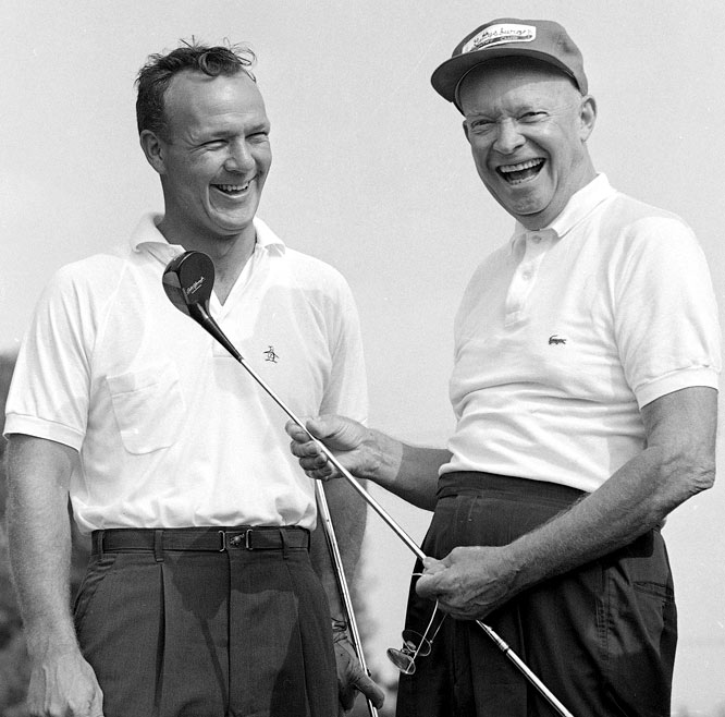 Dwight Eisenhower enjoys a laugh with Arnold Palmer before a round at the Gettysburg Country Club in Gettysburg, Penn.