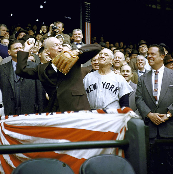 Dwight Eisenhower at opening day in 1956 as Yankee manager Casey Stengel looks on.
