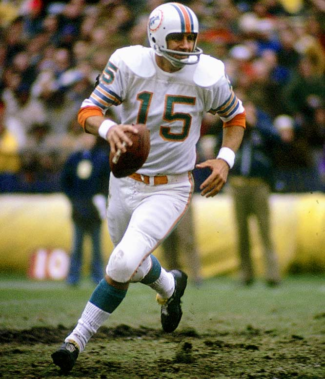 The previous April, Dolphins' coach Don Shula purchased Morrall for the $100 waiver fee. When starting quarterback Bob Griese went down in the fifth game, Morrall, 38, stepped in, helping lead Miami to the only undefeated season in league history.