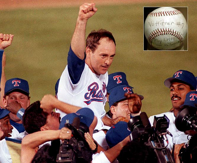 The 44-year-old Express throws a no-hitter -- his record seventh -- against the Toronto Blue Jays. For the final out, Ryan strikes out Roberto Alomar, whose father, Sandy, had played second base behind Ryan in his first two no-nos.