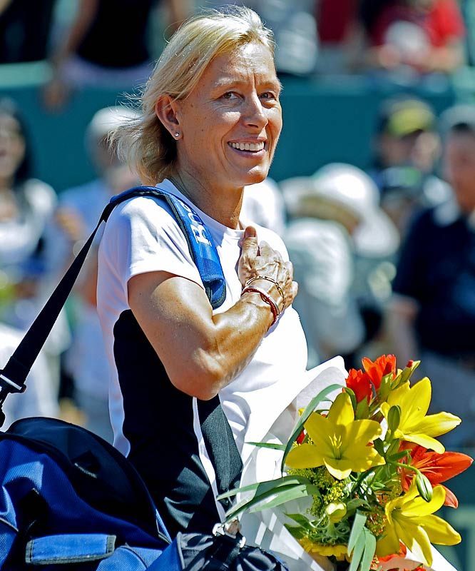 "Navratilova, 52, impressively still active in her 20th season on the World TeamTennis circuit, told reporters that the Williams sisters need to hurry to equal her record of nine Wimbledon singles titles. ""They'll have to play a lot of years to catch up,"" Navratilova said of the 29-year-old Venus (five Wimbledon titles) and 27-year-old Serena (three). ""Venus really needed to win this year. The closer you get to 30, the body starts slowing down. It doesn't obey as well."""