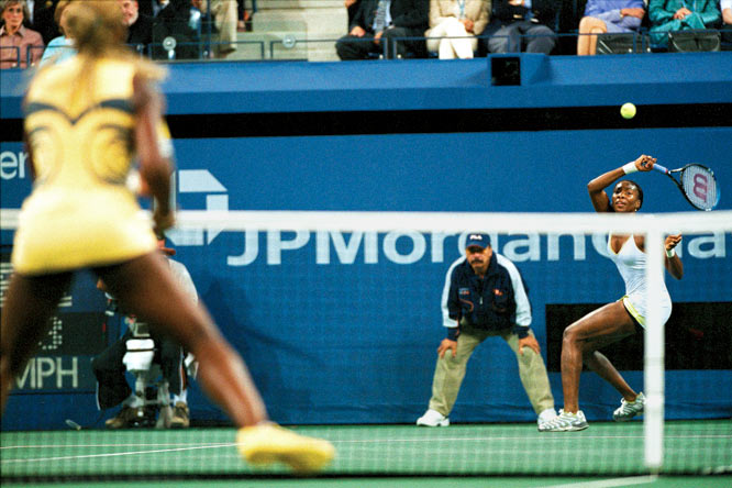The seventh pro matchup between Venus and Serena Williams was their first in a Grand Slam final. The 21-year-old Venus beat the 19-year-old Serena 6-2, 6-4 to win her second U.S. Open in a row. The first prime-time U.S. Open women's final drew nearly 23 million viewers.
