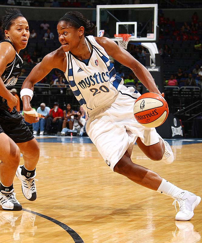 Alana Beard (pictured), who averaged 20.0 points, 4.0 rebounds, 2.5 assists and 2.5 steals last week on the way to scoring Conference Player of the Week honors, continues to make the Mystics look good. But the 79-78 loss to San Antonio on Wednesday was Washington's fifth in seven games and perhaps a sign that the much-improved Mystics may be regressing. <br><br>Next three: 7/18 vs. New York; 7/21 vs. Indiana; 7/23 vs. Chicago