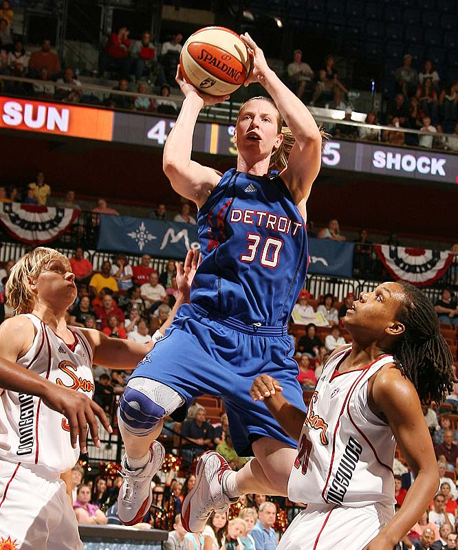Is there a more determined player on the planet than the Shock's Katie Smith (pictured)? Detroit just gets dealt setback after setback, and the 11th-year guard refuses to let her team succumb to circumstance. After hitting the game-winning jumper with 6.3 seconds left to lift Detroit to a 79-77 overtime win at Connecticut last Saturday, she hit the go-ahead bucket with 1:01 left that sealed a 66-63 victory at Seattle.<br><br>Next three: 7/18 at Phoenix; 7/19 at Sacramento; 7/22 vs. Atlanta
