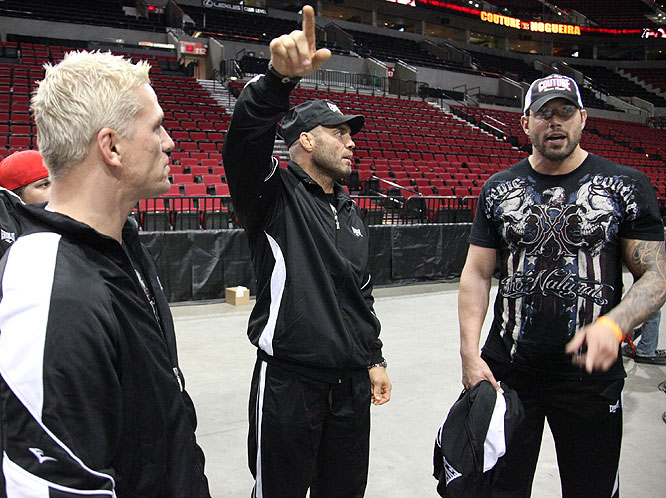 Randy Couture makes an observation upon arriving at Portland's Rose Center on Friday.