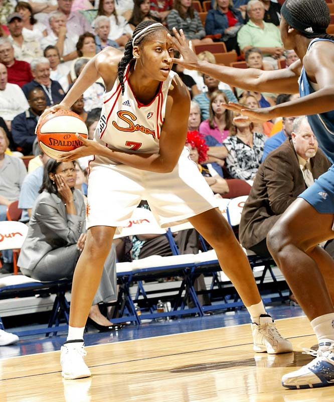 Asjha Jones' Achilles injury could have thrown the third-place Sun's whole season into chaos, but Sandrine Gruda (pictured) has stepped up to steady the squad. The French pivot won the first Player of the Week award of her career on Monday after averaging 18.0 points on 51.0 percent shooting, 8.3 rebounds, 2.7 blocks and 2.0 assists. After swatting a career-high four blocks last Wednesday against New York, she torched the Liberty again for personal bests in scoring (24) and rebounding (12).<br><br>Next three: 8/27 at Seattle; 8/29 vs. Phoenix; 8/30 at Los Angeles
