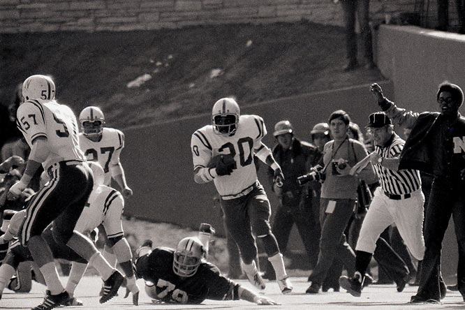"One year after his zig-zagging punt return touchdown against Oklahoma in the ""Game of the Century"" in 1971, but before his five-touchdown (three rushing, one receiving, one passing) performance against Notre Dame in the 1973 Orange Bowl, Rodgers had 266 all-purpose yards in a 33-10 victory against Colorado."