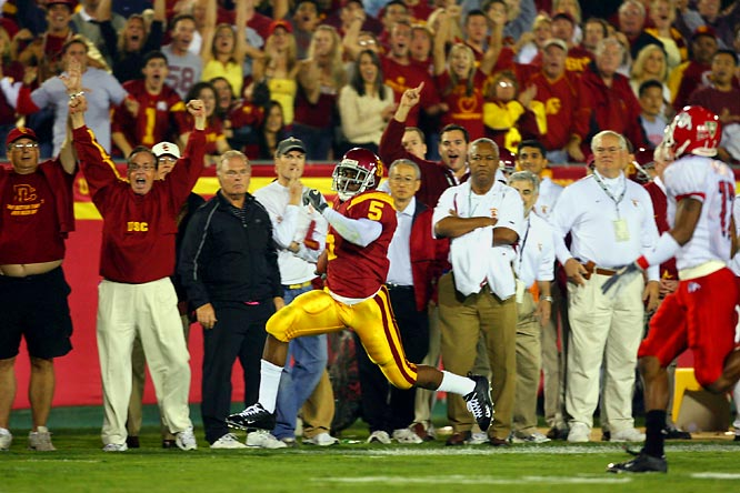 "He was simply electrifying in a late-season game against Fresno State, setting a Pac-10 record with 513 all-purpose yards, including a 50-yard, stop-and-go, sideline-to-sideline third quarter touchdown run. Said USC coach Pete Carroll about Bush after the game: ""He was pure magic."""