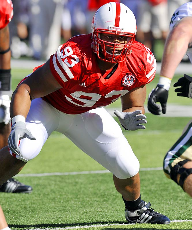 Suh led the 'Huskers in sacks (7.5) and interceptions (two, both returned for TDs) last season. A projected first-round draft pick, he's a defensive player of the year-caliber talent whose surprising agility makes him an asset on both sides of the ball.