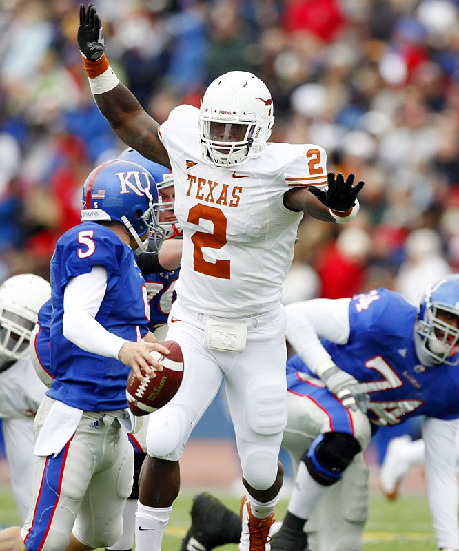 Kindle made headlines this offseason when he crashed his car into an Austin apartment complex while text messaging. To really steal the spotlight and make Longhorns fans forget about losing top 10 draft pick Brian Orakpo, the preseason All-America will have to anchor a young Texas line and replicate his 10-sack 2008 season.