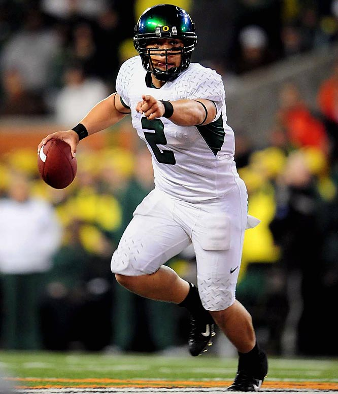 Masoli entered 2008 as Oregon's fifth-string QB. The dual-threat talent enters 2009 as a Heisman candidate. A capable passer and powerful runner, Masoli excels in Oregon's spread-option attack.