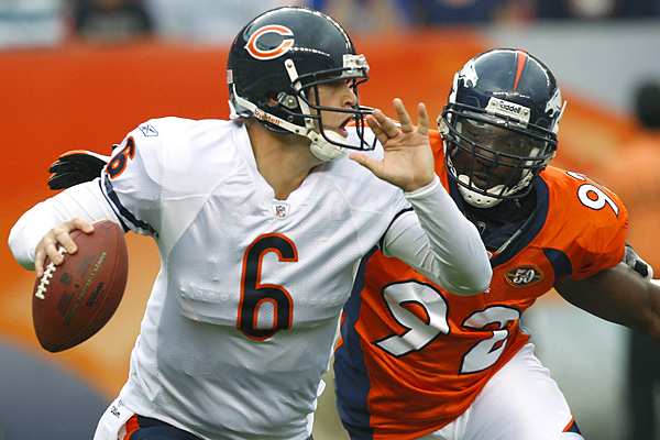Broncos defensive end Elvis Dumervil nearly sacked Jay Cutler for a safety in the first half. The Denver defense treated this game like a midseason clash, not some random preseason tilt.