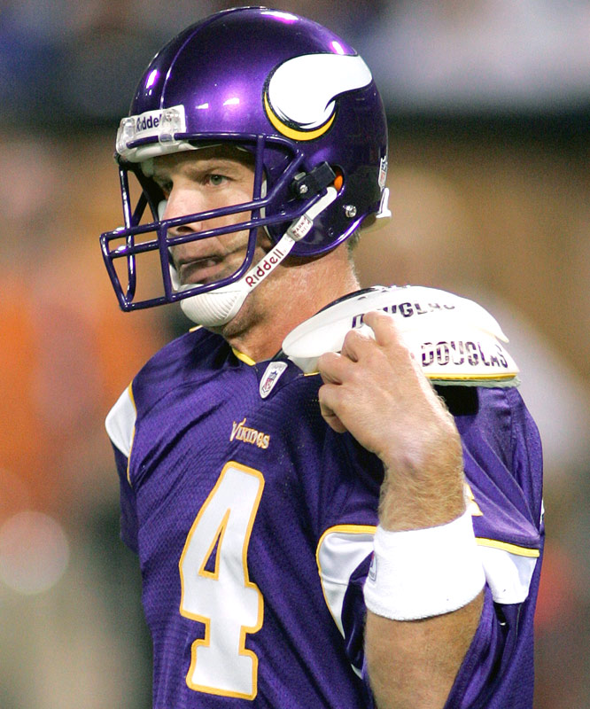 Brett Favre's Metrodome experience was over after only four passes, completing just one for four yards (Percy Harvin).