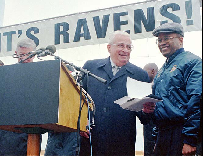 While beloved in Baltimore, the former Browns owner, pictured here with former Baltimore mayor Kurt Schmoke,  became one of the most hated men in Cleveland when he announced he would move the team to Charm City in 1996.