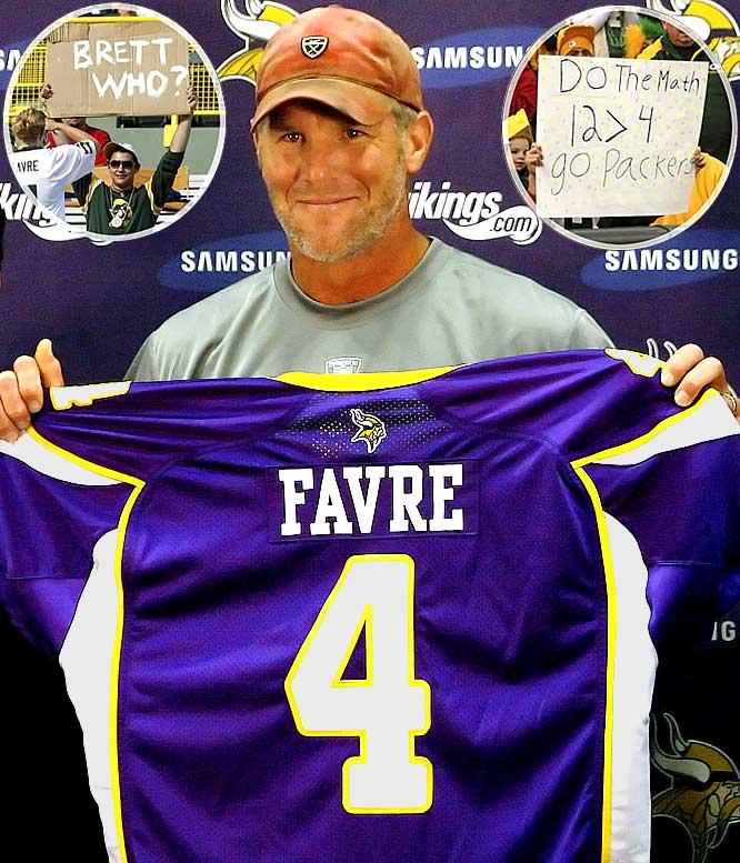 After 16 years as the heroic fan favorite of the Packers, Favre is making it hard for a cheesehead to support him. Last year it was the media circus his retirement/un-retirement/retirment/un-retirment caused, eventually forcing a trade to the Jets. Now this year, Favre is wearing the purple and gold of the division-rival Vikings.