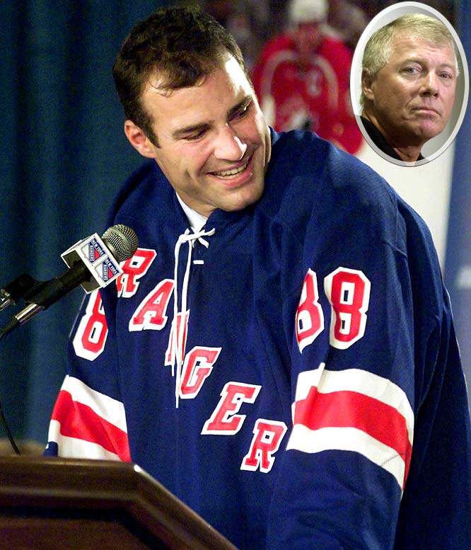 """He publicly feuded with management, criticized the team training staff and, after a multitude of concussions, refused to play until a trade to Toronto occurred. Missing the 2001 season may have finally damned Lindros in the eyes of Philadelphia fans. Six months later, when the Flyers and Rangers (a Lindros-approved destination) finally worked out a deal,  Philadelphia GM Bobby Clarke (inset) said """"I don't give a crap whether he ever plays again or if I ever see him again. All he ever did was cause aggravation to our team."""""""