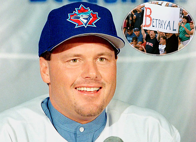 After amassing 136 wins in his seven previous seasons, Clemens was just 40-39 the next three. Angered by a quote from then-Boston manager Dan Duquette hinting that Clemens was slowing down, he signed with the Blue Jays (three years, $24.75 million), posting 41 wins, two Cy Young Awards and earning the ire of Red Sox fans who claimed he was coasting in Boston. To further stoke the fire, Clemens signed with the hated Yankees in 1999 -- all before the steroid allegations began to fly.