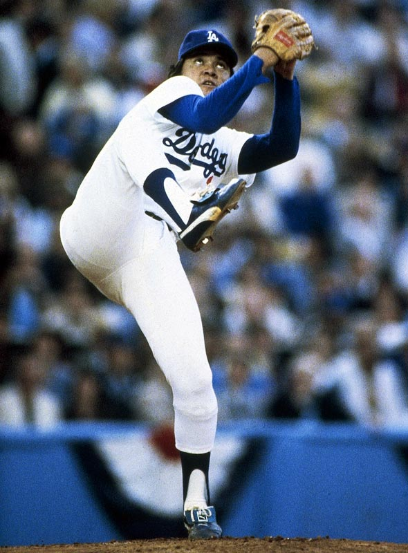 Fernando Valenzuela shows off his unique windup in a game against the Yankees.