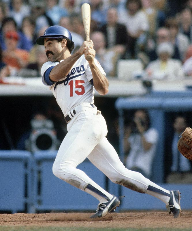 Davey Lopes smacks a single during Game 4 of the World Series.