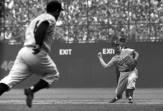 Don Zimmer throws out Yogi Berra during Game 3 of the  World Series.
