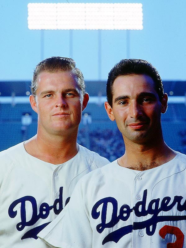 Don Drysdale (left) and Sandy Koufax pose at an SI photo session.