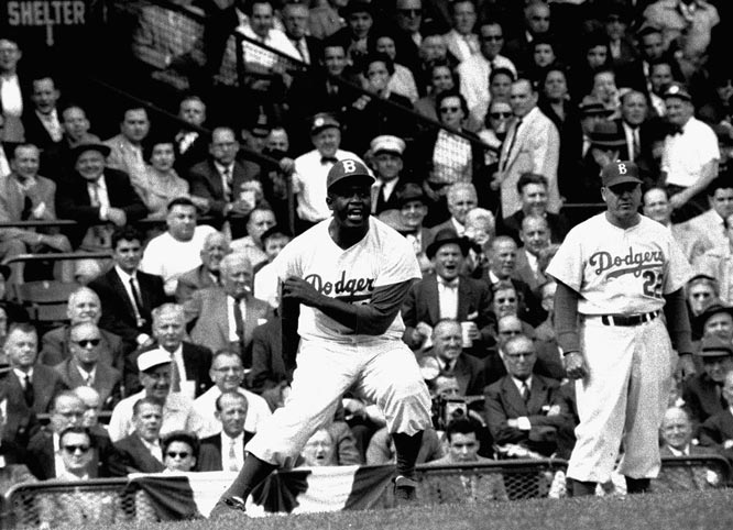 Brooklyn Dodger Jackie Robinson takes a lead off third base during Game 3 of the World Series against the Yankees.   Send comments to siwriters@simail.com.