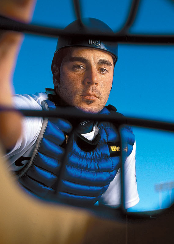 A unique view of catcher Paul La Duca, as seen through an umpire's mask.