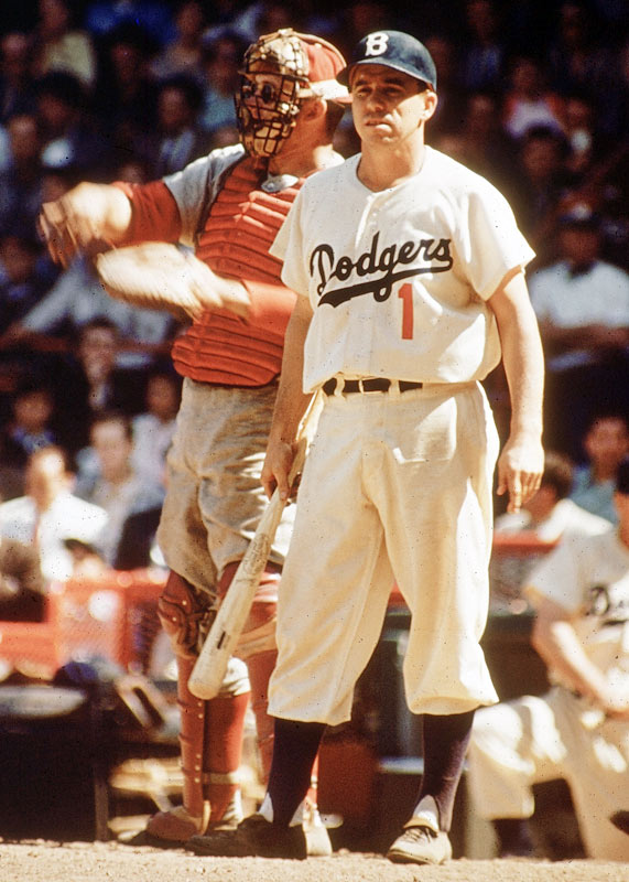Pee Wee Reese surveys the field before stepping into the batter's box.