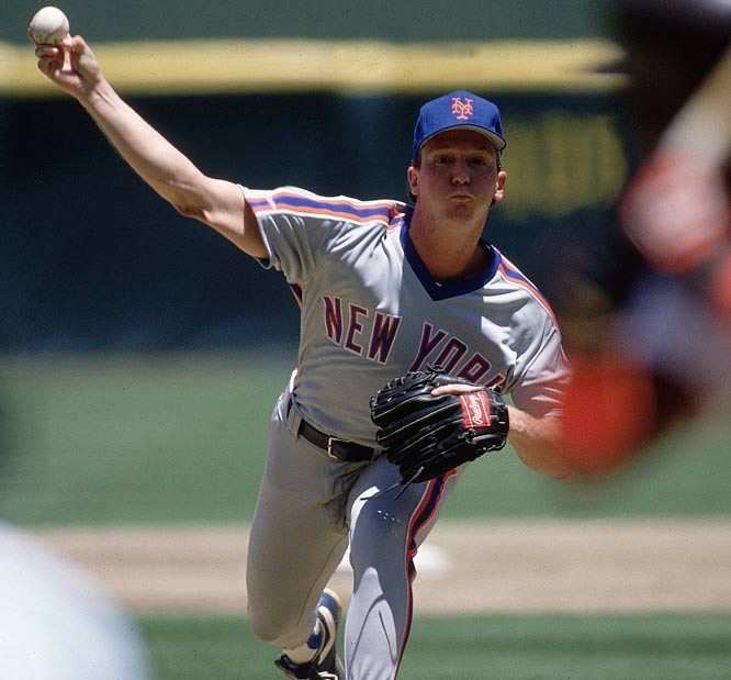 David Cone unleashes a pitch against Montreal. Cone spent six years with the Mets, where he enjoyed some of his most successful seasons.