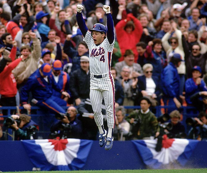 Lenny Dykstra leaps after hitting a walkoff home run against Houston in Game 3 of the NLCS.