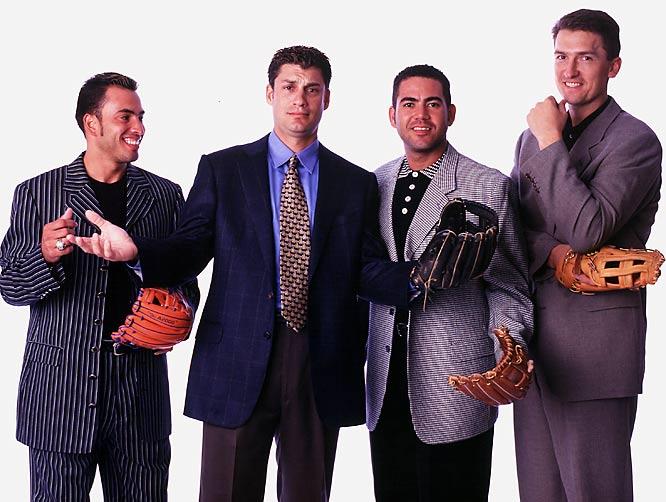 Infielders Rey Ordonez, Robin Ventura, Edgardo Alfonzo and John Olerud pose for an SI photo shoot.