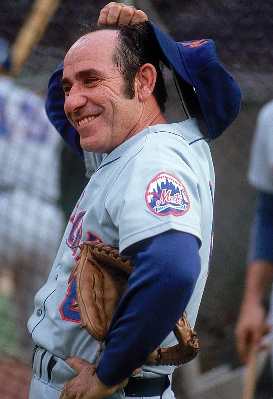 Yogi Berra watches the action during a game against Philadelphia. Following Gil Hodges's death in 1971, Berra was named the Mets manager and remained with the team until 1975.