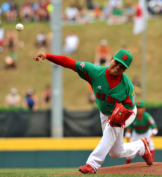 Raymundo Berrones of Reynosa, Mexico, struck out 10 batters before being lifted with one out in the fifth after reaching his limit of 85 pitches. His team won 6-0 and advanced to Saturday's international final.